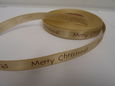 Light Gold 2 or 20 metres 10mm Merry Christmas Satin Ribbon Xmas Roll Craft Double Side